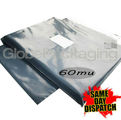10 x STRONG LARGE GREY POSTAL POLY MAILING BAGS 21x24