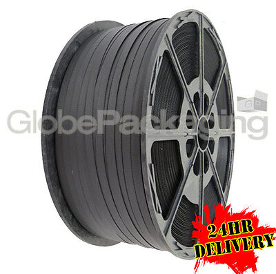 1000m Hand Pallet Strapping Black Coil 12mm 310kg Brake