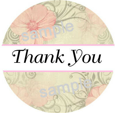 THANK YOU STICKERS PINK FLOWER PRINT 65 1 INCH LABELS  - $1.95
