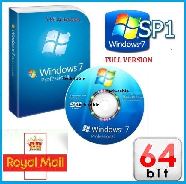 Windows 7 Professional 64-Bit DVD SP1 Full Version + PRO CoA License Key 10