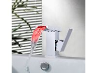 Chrome Finished Basin Sink Mixer Tap Bathroom Kitchen Waterfall Sink Tap Faucet with LED