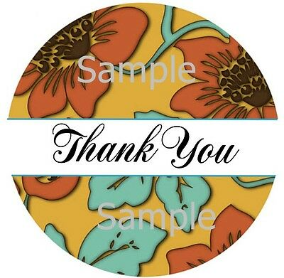 Thank You Stickers Warm Gold With Flowers 83 1 Inch Sticker Seal Labels