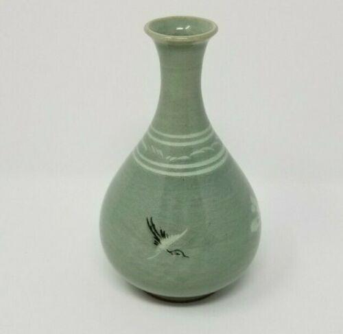 Vintage Korean Celadon Flying Cranes and Clouds Bud Vase Crackle Glaze Signed