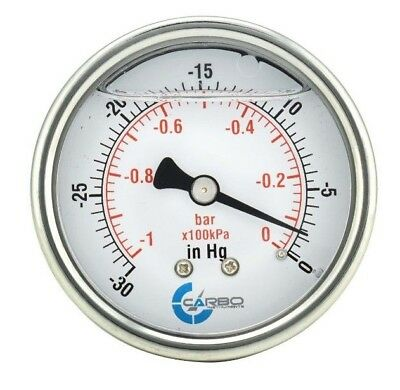 2-12 Vacuum Gauge Stainless Steel Case Liquid Filled Back Mnt -30 Hg0