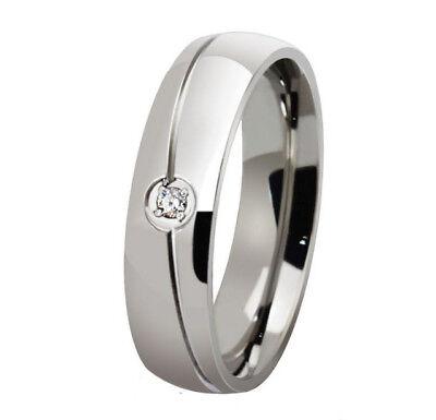 Ring Fingerring f. Damen Edelstahl mit CZ Kristall Grau (Silber)(1)