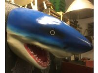 S A L E NEW HUGE Fibre Glass Wall Hanging Sharks Head Shark Life Size - UK Delivery