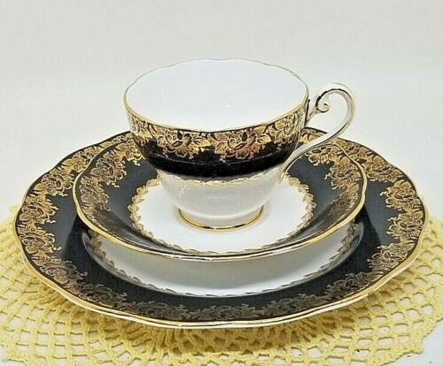 Royal Standard CUP, SAUCER & PLATE - Black & Gold Filigree Pattern -  England