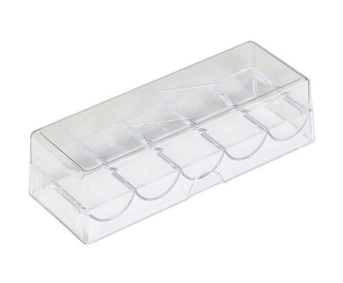 Casino Acrylic Chip Tray with Cover. Poker Chip Rack with Lid - Holds 100 Chips