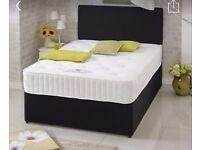 BLACK SUEDE DIVAN BED.