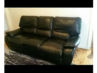 La Z Boy 3 Seater Black Leather Sofa and Armchair