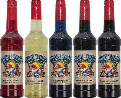 Choose Your Flavors 5 Bottles Of Snow Cone Syrup - Maui Tropic Brand