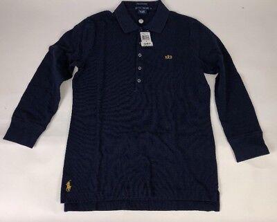 Ralph Lauren Long Sleeve Skinny Polo Size Medium Long Navy Embroidered RRD