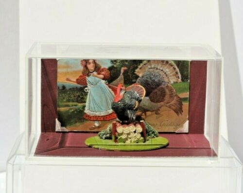 Vintage German Paper Mache Composition Thanksgiving Turkey on Spring Log Figure