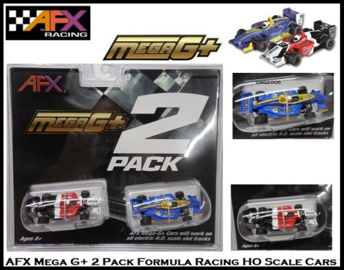 AFX Mega G+ Twin Pack Formula Race Cars ~ Fits Auto World, Tomy, Racemasters