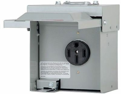 Temporary Outdoor RV Electrical Power Outlet Box 50 Amp Lockable Lid Receptacle
