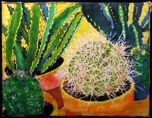 Sara-Eyestone-No-Place-to-Fall-Off-a-Horse-Original-Batik-Painting-cactus