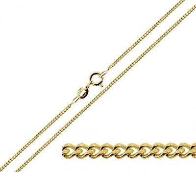 9k Yellow Solid Gold Curb Chain Necklace 1,1.2, 1.5mm UK Hallmarked FINE QUALITY