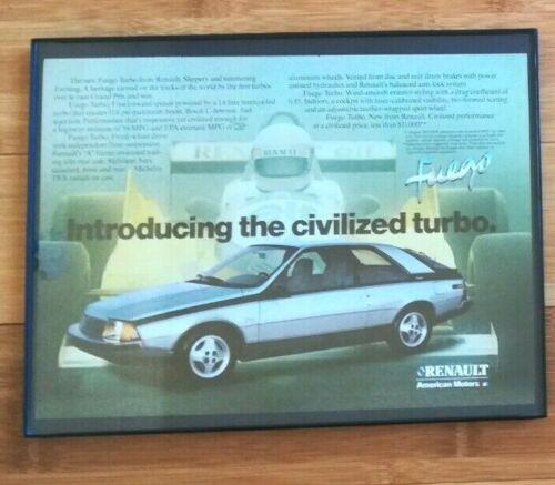 1982 Framed Renault Fuego Magazine Ad 11X8.5 Silver Fuego AMC American Motors
