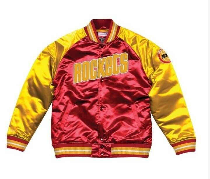 new concept f054b 37b1d Details about Authentic Houston Rockets Mitchell & Ness NBA Tough Seasons  Red Satin Jacket