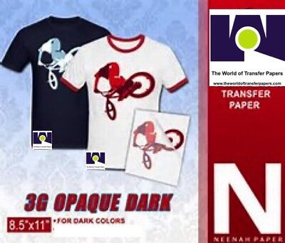 Inkjet Heat Transfer Paper For Dark Colors Neenah 3g Jet Opaque 8.5x11-10 Sheets