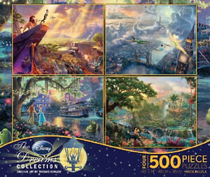Thomas Kinkade Disney Collection Puzzle Multi Pack 4 x 500 Piece Jigsaw Collage