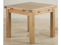 Oak Furniture Land 3x3ft to 5x3ft Solid Oak Extending Dining Table
