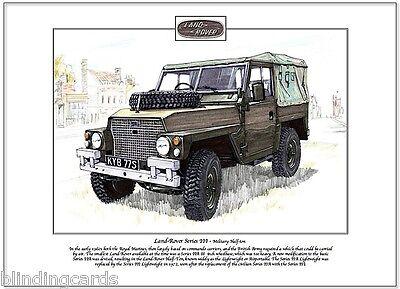 LAND-ROVER Series III 3 Three - Military Half-Ton - Fine Art Print  A4 - Marines