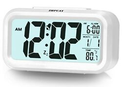 4.6 Smart Backlight Alarm Clock with Dimmer (White)