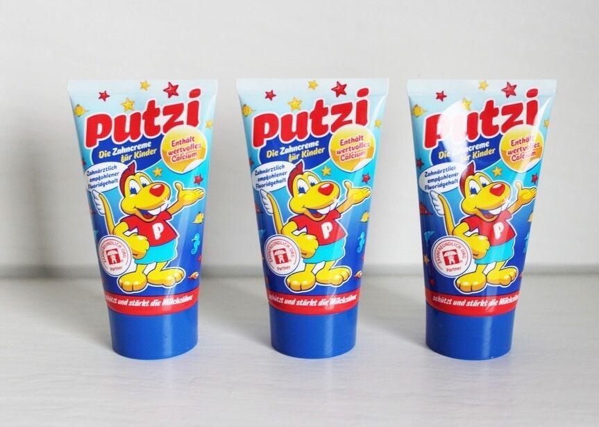 (EUR 5,92/ 100ml)  3x Putzi Zahncreme für Kinder mit Calcium a 50ml