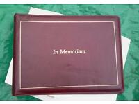 In Memoriam registration book for funeral services