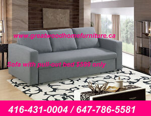 BRAND NEW LINEN FABRIC SOFA WITH BED..$599 ONLY