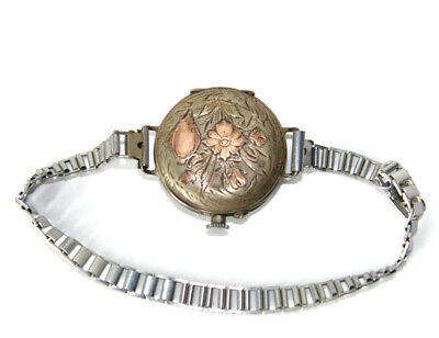 Antique Old Sterling Silver Vermeil Pocket Watch With Bracelet Chiseled Flowers