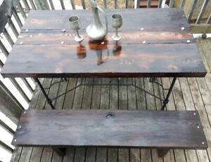 Outdoor Very Unique Rustic Dining Table and 2 Benches $350