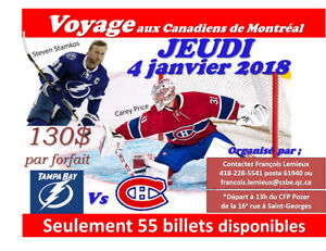 Voyage aux Canadiens contre Tampa Bay jeudi 4 janvier.