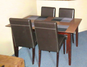 Dining chairs, leather upper