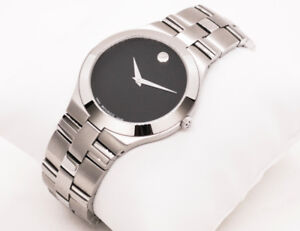 Mens Super Slim Movado Watch, All Stainless Steel Swiss Made