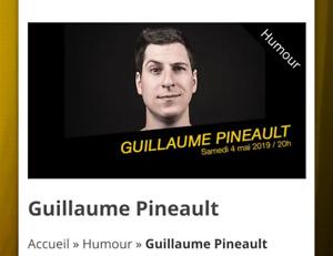 Paire de billets pour voir Guillaume Pineault
