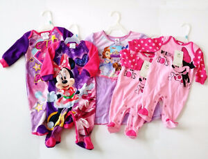 DISNEY/DC COMICS BABY CLOTHES GIRLS SLEEPERS GIRLS 0-6M LOT OF 5