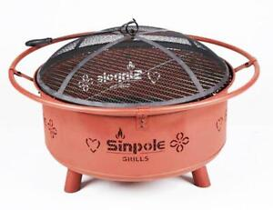Wood Burning&Charcoal Fire Pit Patio Fireplace BBQ Oven Campfire Grill 251508