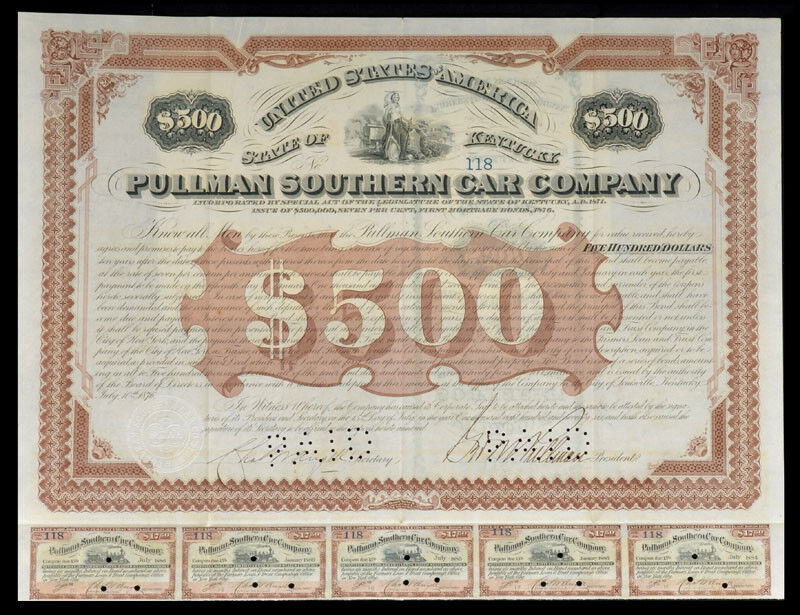 Pullman Southern Car Company Signed by George Pullman
