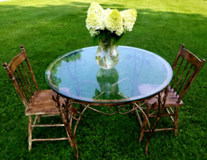 Old French country wrought iron table and chairs