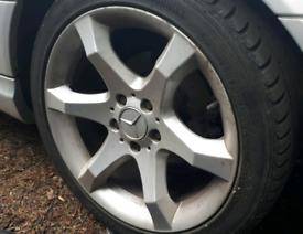 "2 x Mercedes 203 C-Class 6 Spoke Wheel 8.5 x 17"" ET34"
