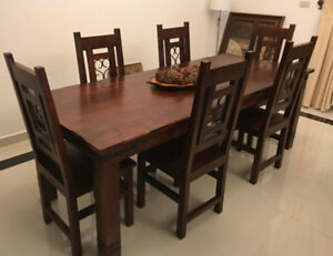 Hardwood Dining table set with (2) Entertainment units