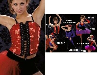 Mystere Dance Costume Lace Up SEQUIN TOP ONLY Clearance Child Med 6X7 Adult - Grown Up Baby Costumes