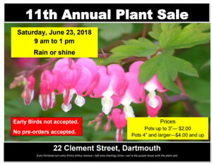 Plant Sale June 23rd 9am to 1pm -- Absolutely NO EARLY BIRDS!!!