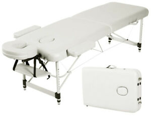 New 2 Section Aluminum Portable Massage Table white