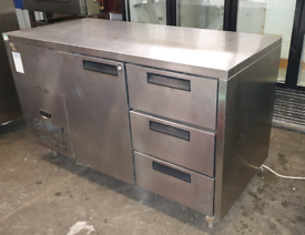 William commercial prep counter chiller stainless steel fully working