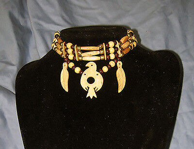 Handmade Native American Buffalo Bone Carved Thunderbird Choker Necklace