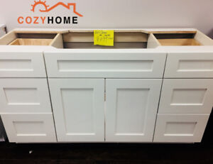 """60""""off-white solid wood bathroom cabinet"""