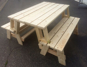 2 in 1 Patio Table: can be a picnic table or turn into 2 benches